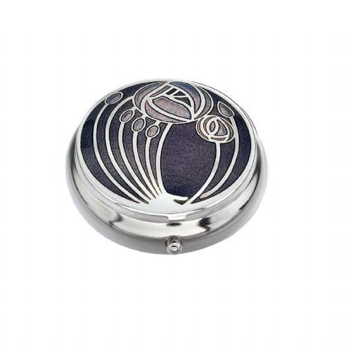 Pill Box Silver Plated Mackintosh Multi Rose Roses Purple Brand New and Boxed
